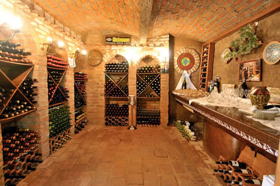 wine cellar with bottles of wine