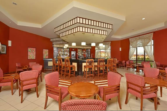 View of the hotel lobby bar