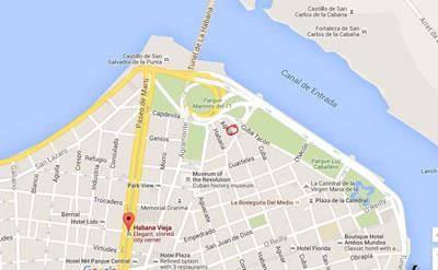 Café de los artistas,  Havana, Cuba,map