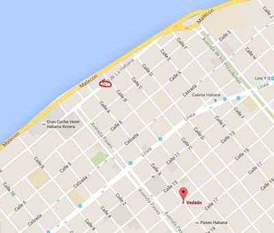 Corner café,La Havana, Cuba,map