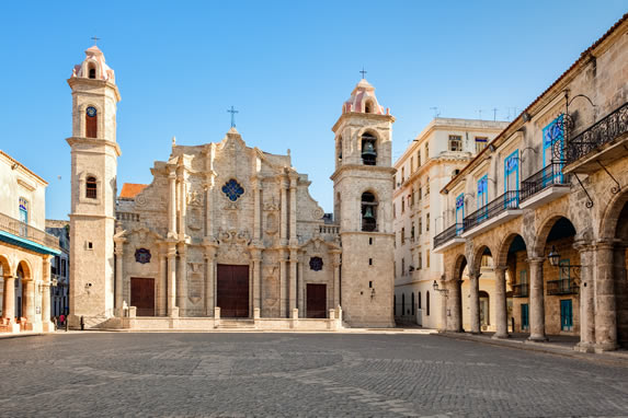View of the cathedral square in Havana