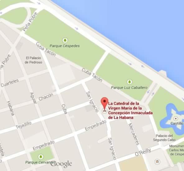 Cathedral of Havana, Havana, Cuba,map