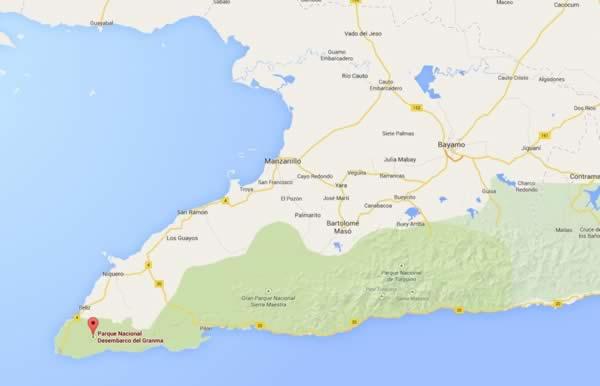 Desembarco del Granma park ,map, Granma, cuba