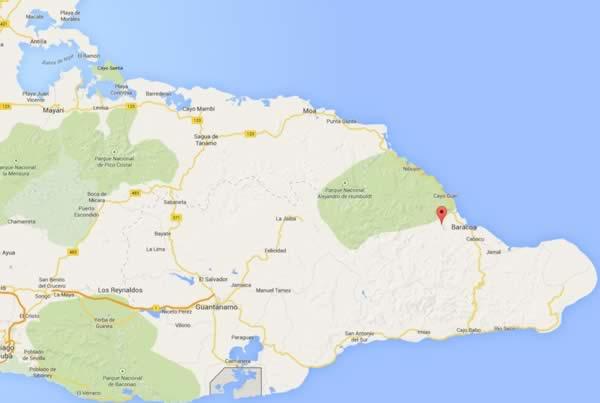 El Yunque, map,Baracoa, Cuba