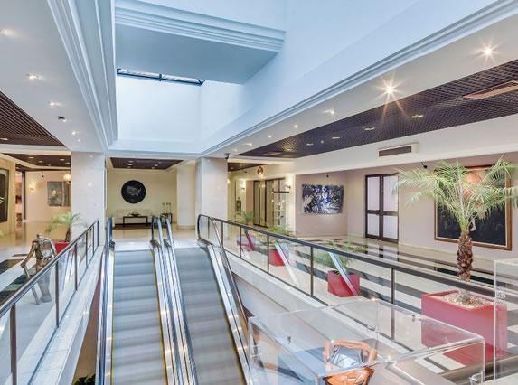 Escalators inside the hotel