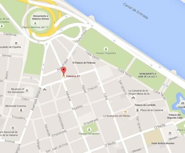 Restaurante Habana 61, Habana, Cuba ,mapa