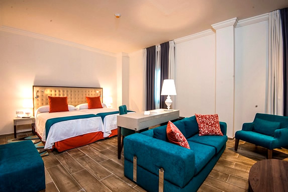 Blue decoration in hotel rooms