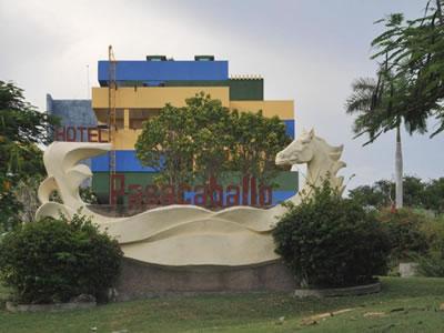 Facade of Hotel Pasacaballos, Cienfuegos, Cuba