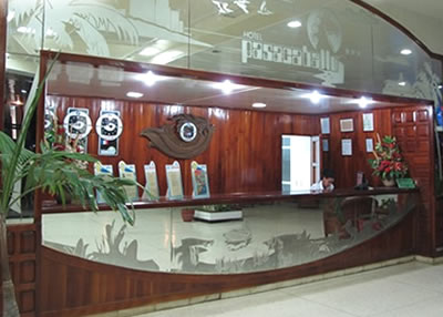 Front desk of hotel Pasacaballo
