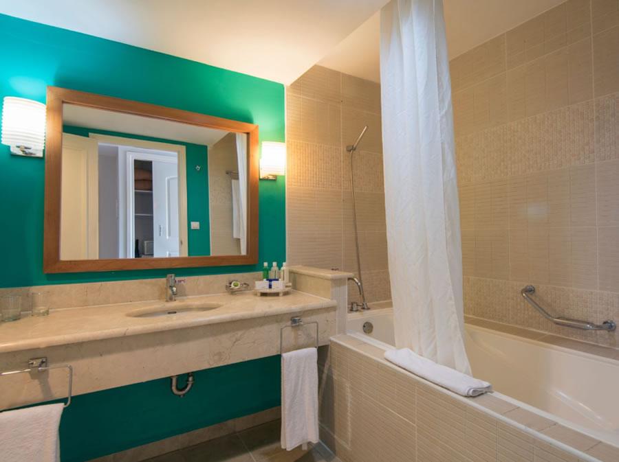 Vista de baño de una habitación del hotel