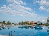 Wide view of big hotel pool