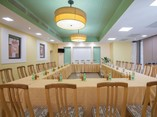 meeting room set up with meeting table and chairs