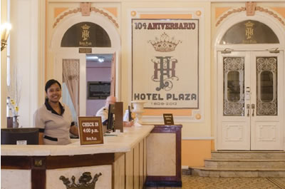 Front Desk of hotel Plaza
