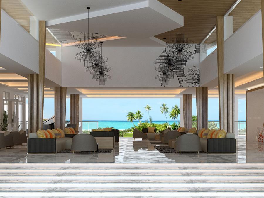 Lobby del hotel con vista al mar