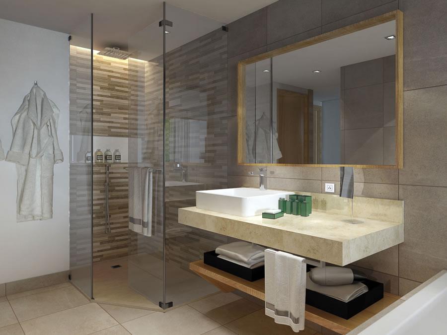 Vista de un baño de habitación sencillo