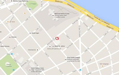 Cabaret La gruta,, La habana, Cuba,mapa