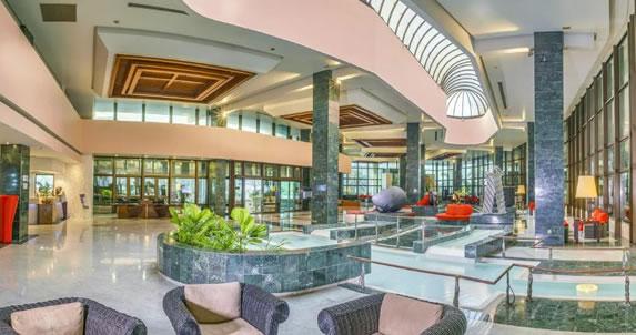 View of the lobby of the Melia Habana hotel