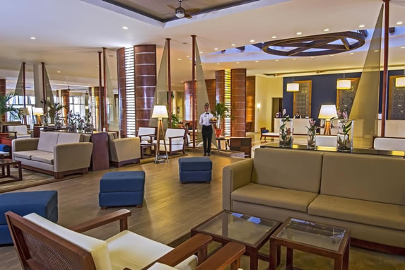 Wooden furniture in the hotel lobby