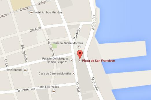 Ubicación Plaza San Francisco de Asis, Habana