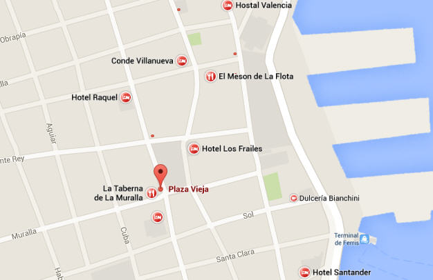 Location of Plaza Vieja, Havana, Cuna