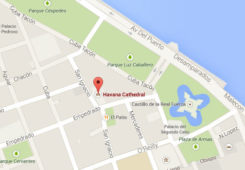Location Map of Plaza de la Catedral, Havana, Cuba