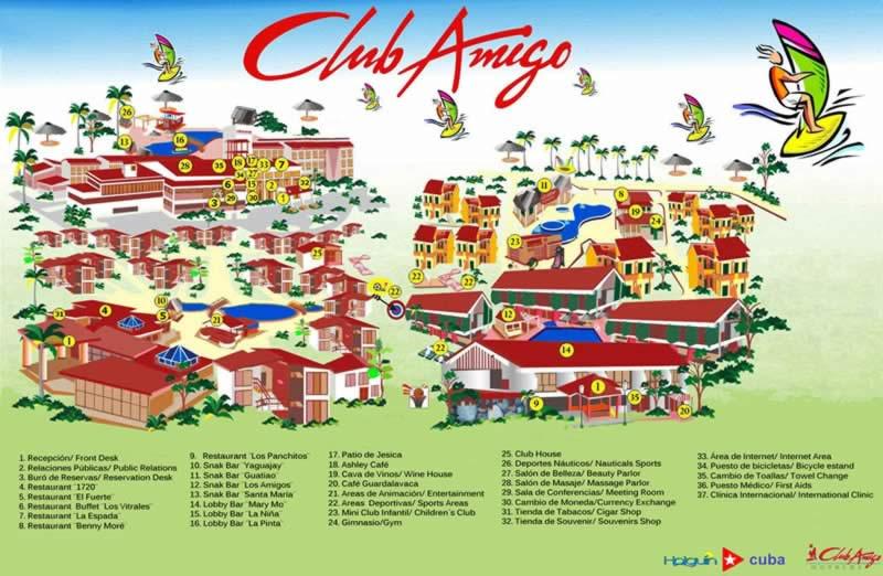 Hotel Club Amigo Atlantico Guardalavaca Map, Cuba