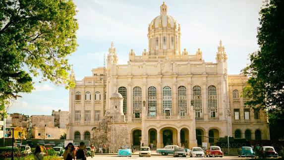 Facade of the museum of the revolution in Havana