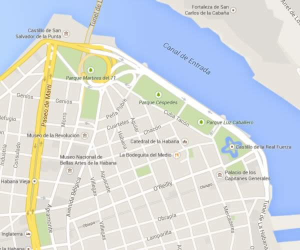 Old Havana  - Havana, Cuba - Location Map