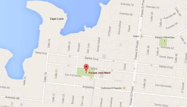 Martí Park, map,Cienfuegos, Cuba