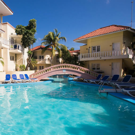 View of the hotel pool with bridge