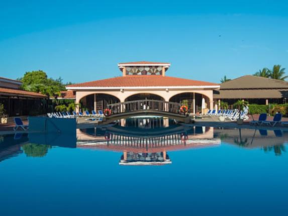 Bridge in the hotel pool