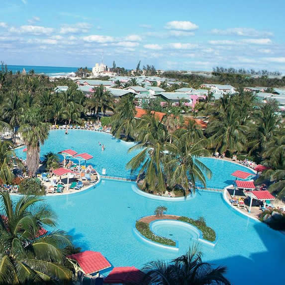 Aerial view of the Arenas Blancas hotel pool