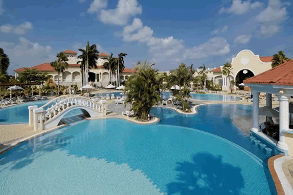 Bridge across the hotel pool