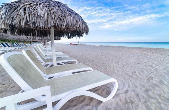 Sun loungers on the hotel beach