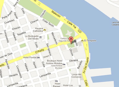 Location Map of Plaza de Armas in Havana, Cuba