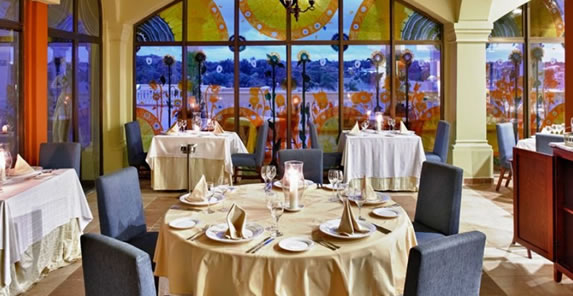 Colorful stained glass windows in the restaurant