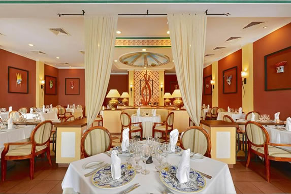 Restaurant with wooden furniture in the hotel