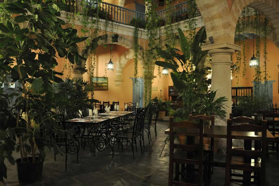 Restaurant in the interior courtyard of the hotel