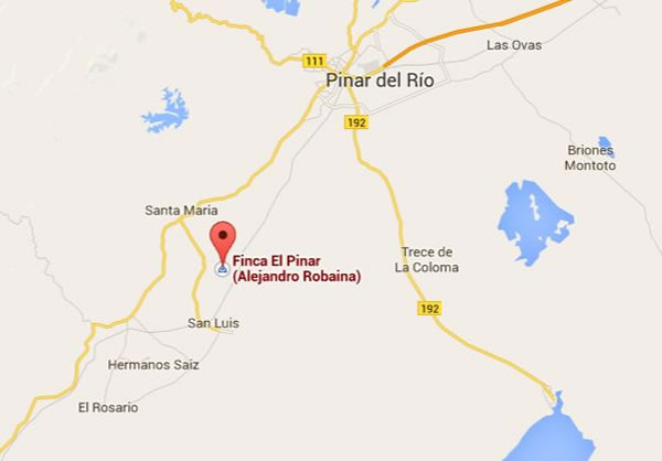 Finca de Alejandro Robaina,Mapa, Pinar del rio