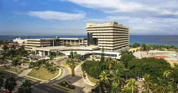 Aerial view of the Melia Habana hotel