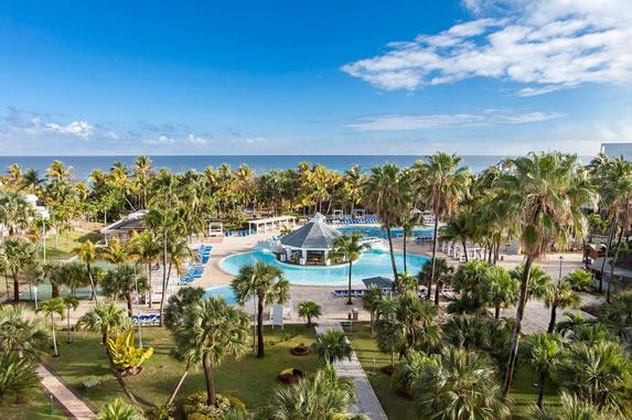 Vista de la piscina y las palmeras del hotel