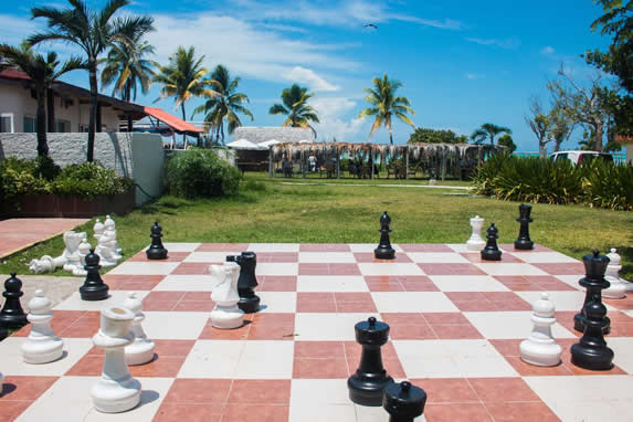giant chess in the hotel garden