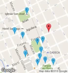 Restaurant Avilés, Holguín. Cuba,map