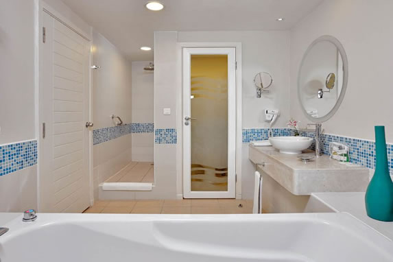 Bathroom with bathtub in the room