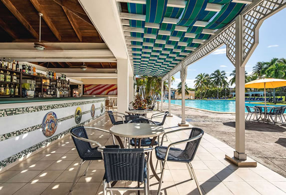 Wooden ceiling at the pool bar