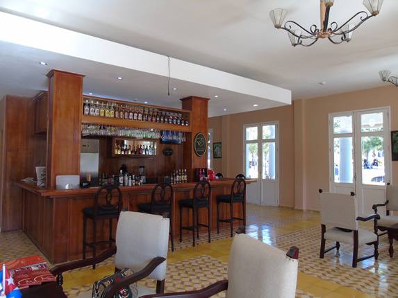 bar with wooden bar in the hotel lobby