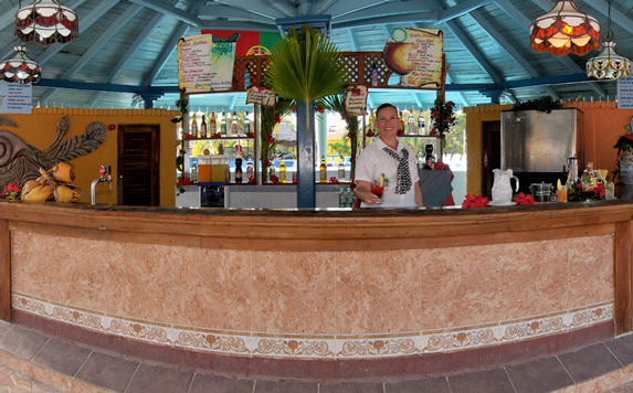 bar with wooden bar and tropical decoration