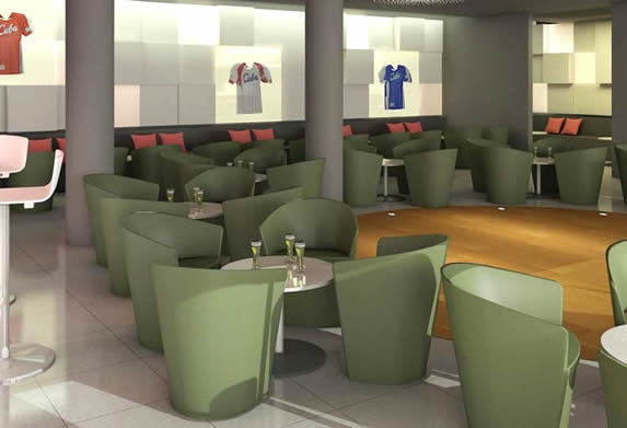 bar with sports furniture and decoration