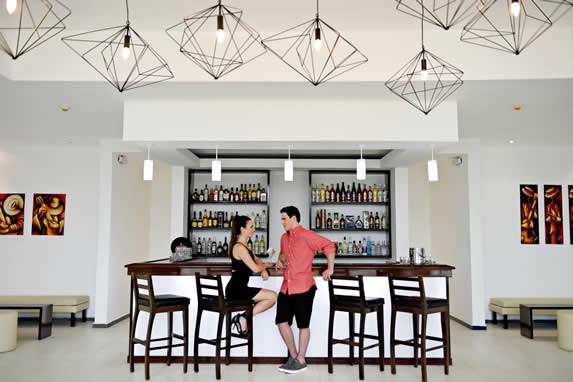 bar with bar and wooden stools