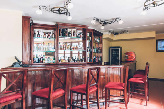 bar with wooden bar and red tapestry benches